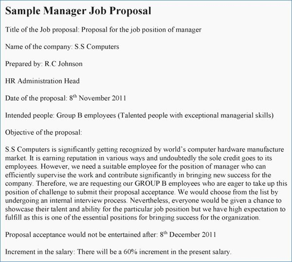 New Position Proposal Template How to Write A Job Proposal