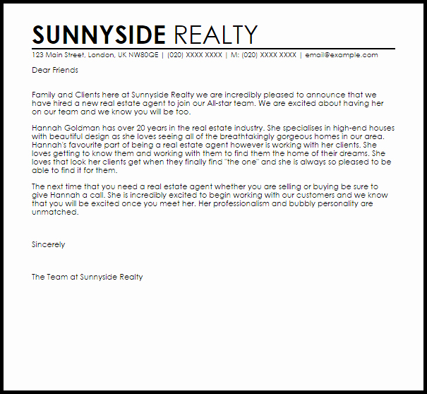 New Real Estate Agent Announcement Letter Example