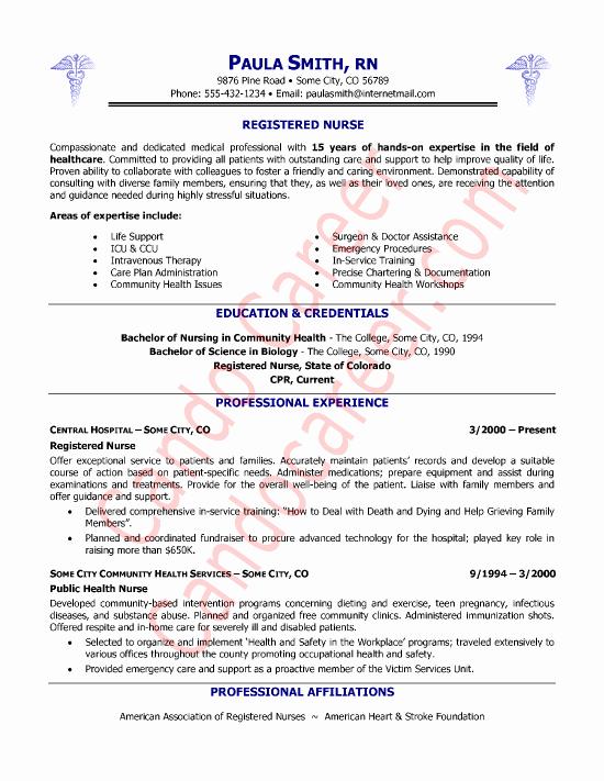 New Registered Nurse Resume Sample