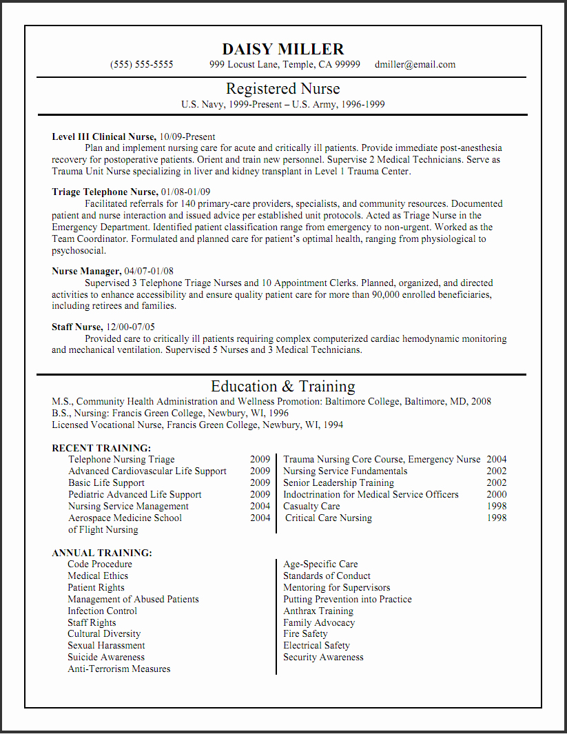 New Registered Nurse Resume Sample with List Education