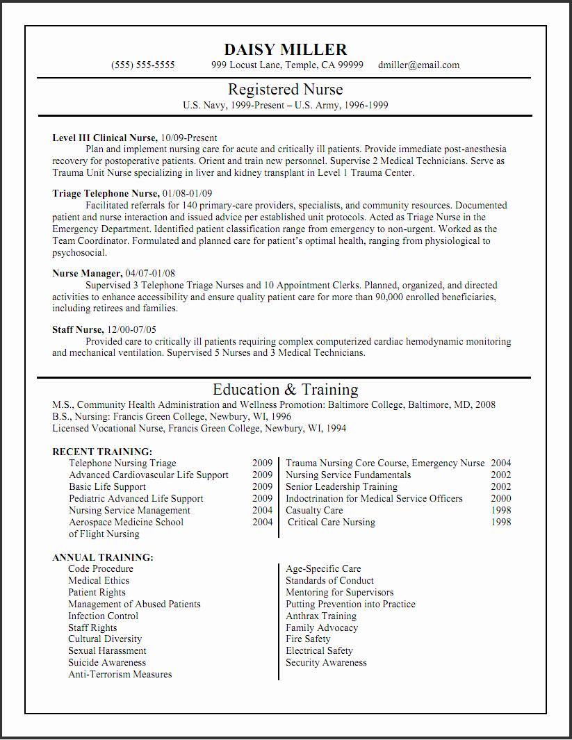 New Registered Nurse Resume Sample with List Education