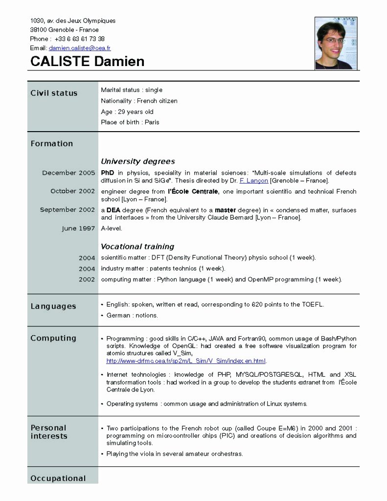 New Resume formats New Resume format Free Download