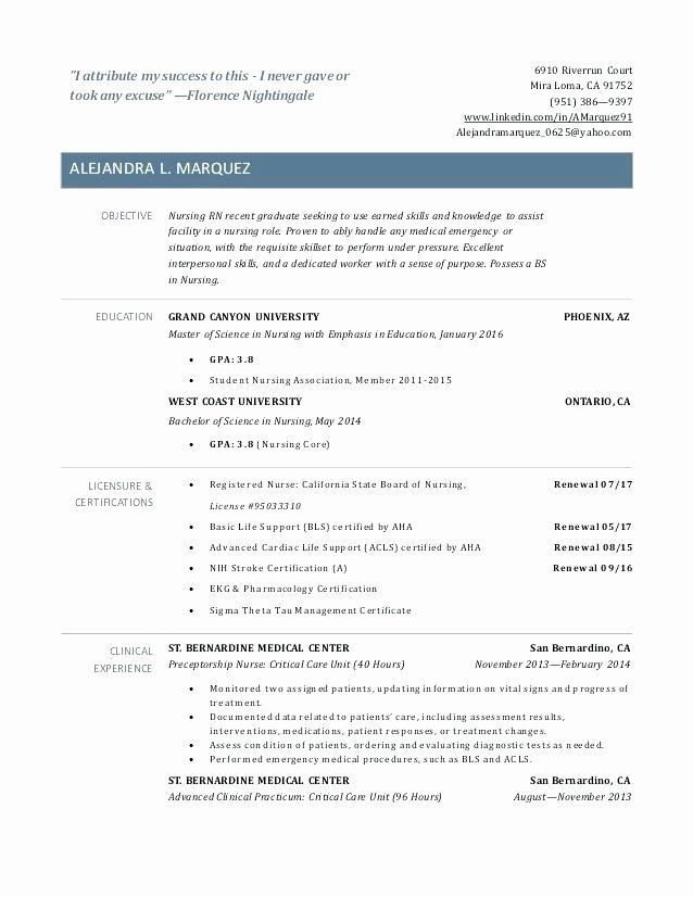 New Rn Graduate Resume Samples