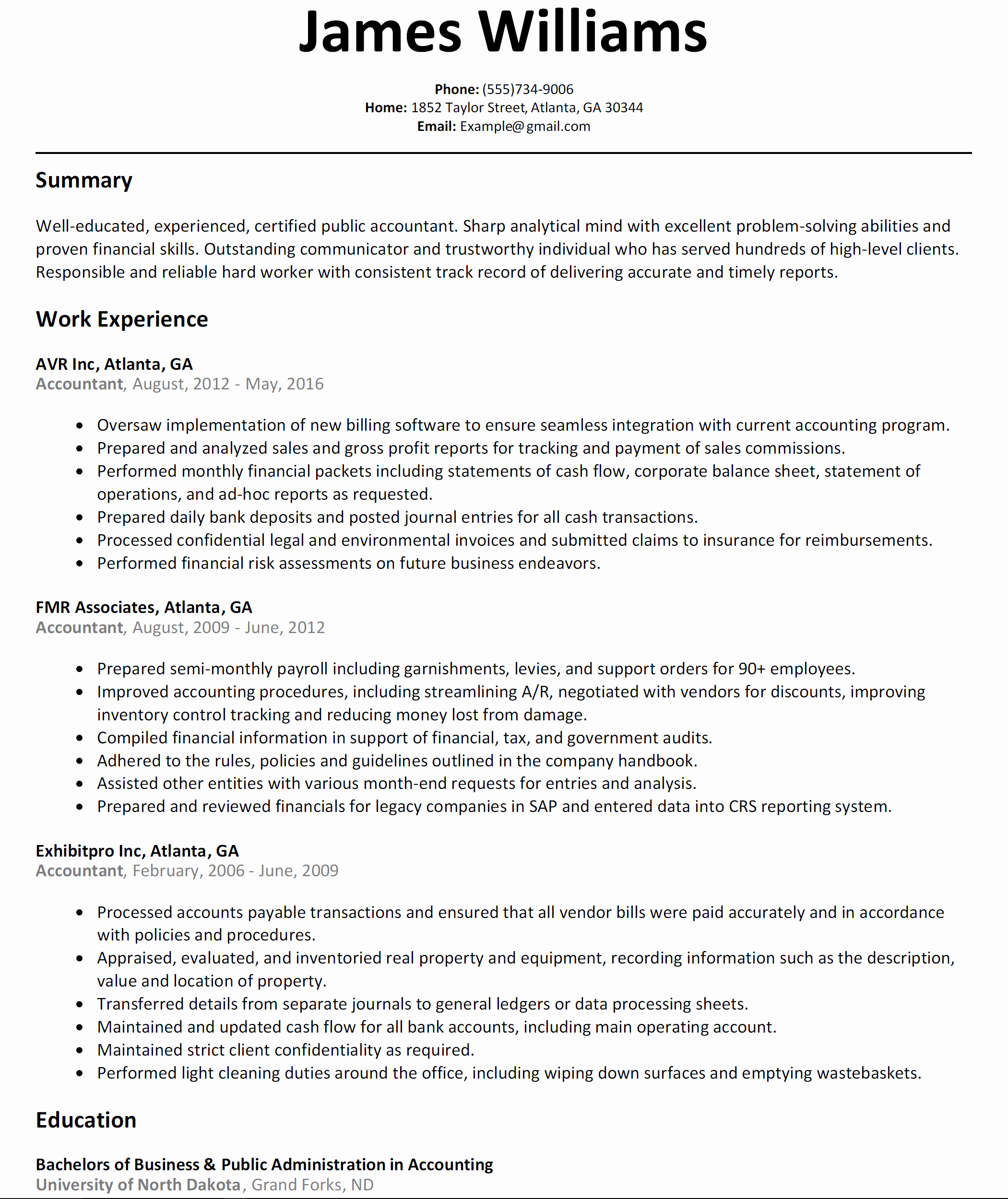 New Sample Accounting Resume Resume Examples Templates