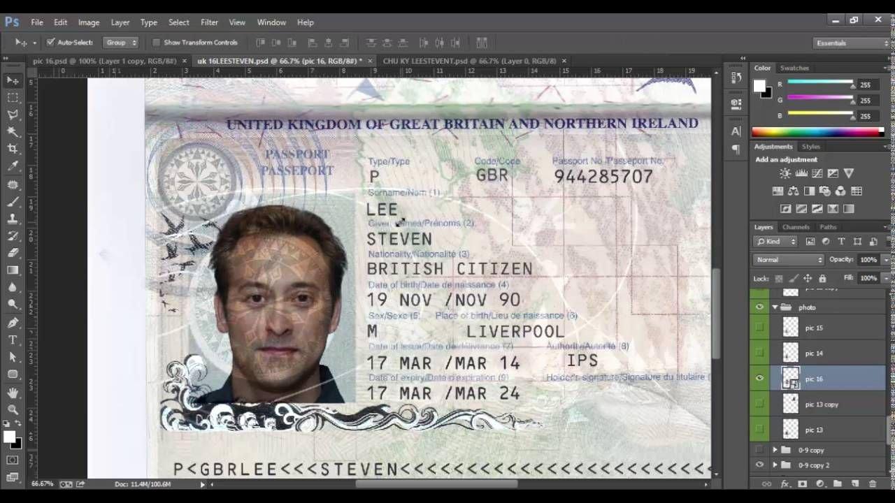 New Uk Passport Template Psd Id Uk Psd Template 2016