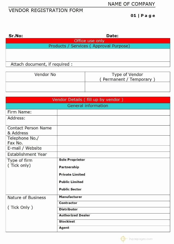 New Vendor form Template Gecce Tackletarts