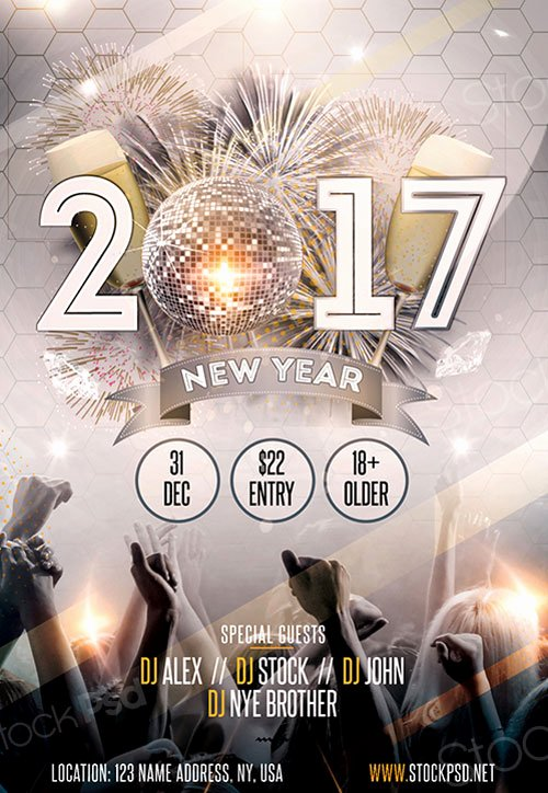 New Year Gold Party Free Flyer Template Download for