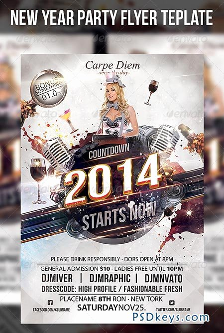 702 new year party flyer template