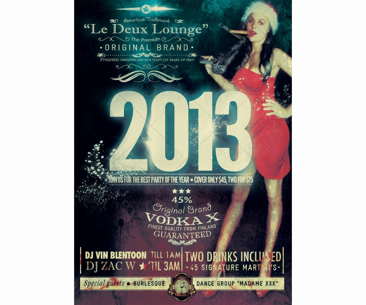 New Year Party Flyer Template Retro Style Flyer Vintage