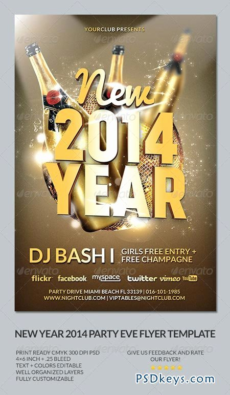 New Year S Eve 2014 Party Flyer Template Free