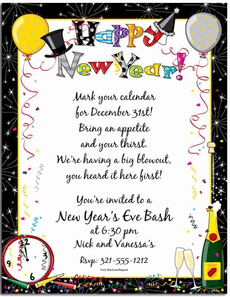 New Year S Eve Invitations