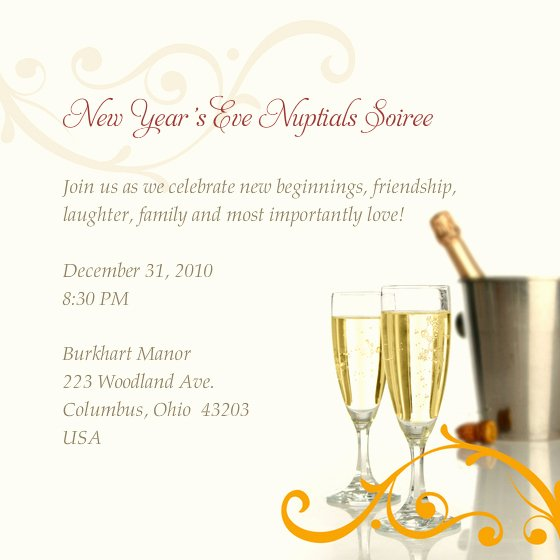 New Year S Eve Nuptials soiree Line Invitations & Cards