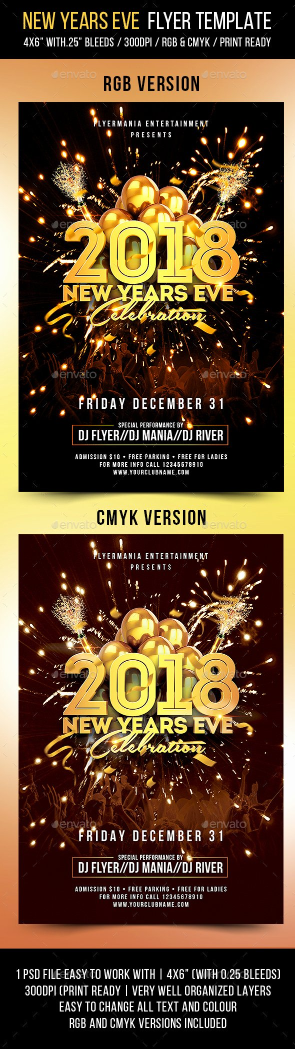 New Years Eve Flyer Template by Flyermania