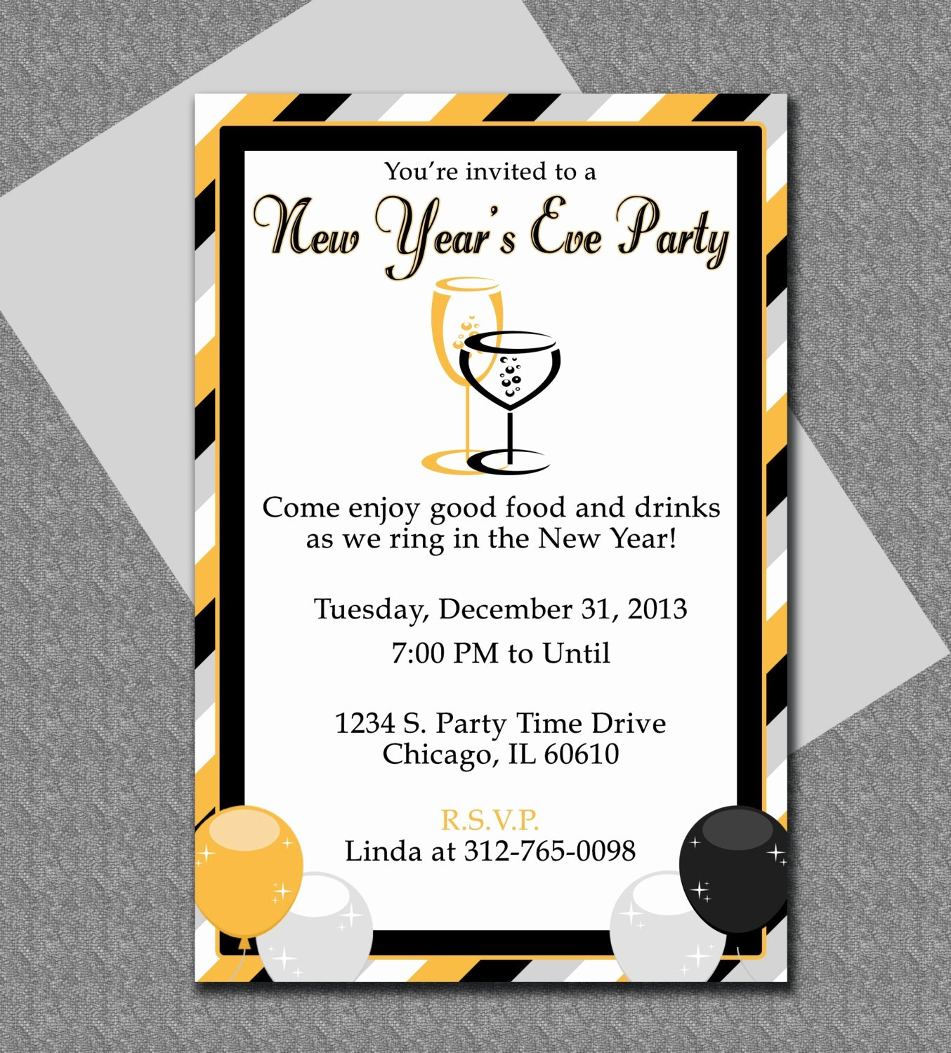 New Years Eve Party Invitation Editable Template