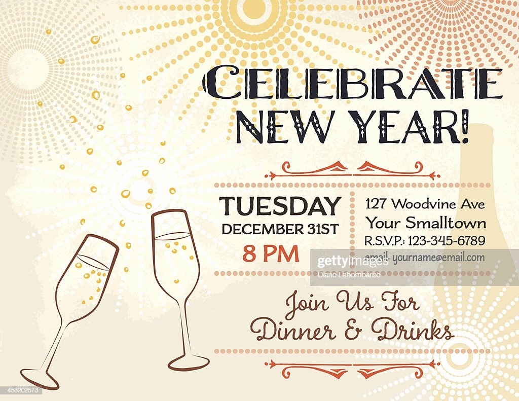 New Years Eve Party Invitation Template Vector Art