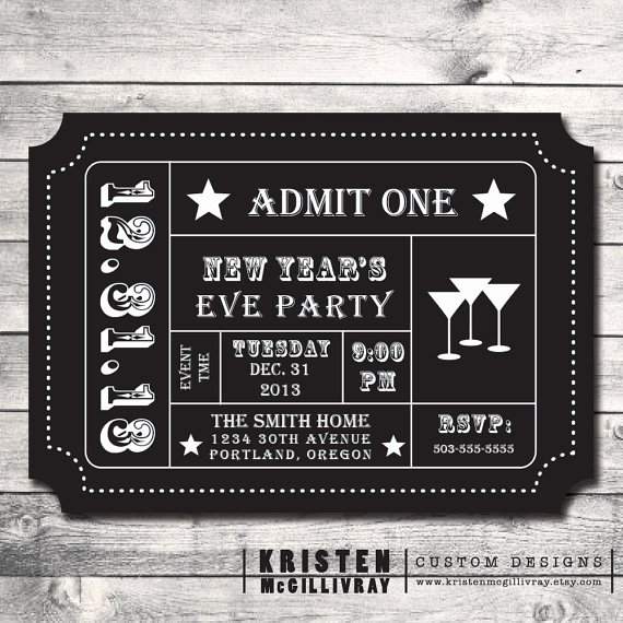New Years Eve Ticket Template Invitation Template