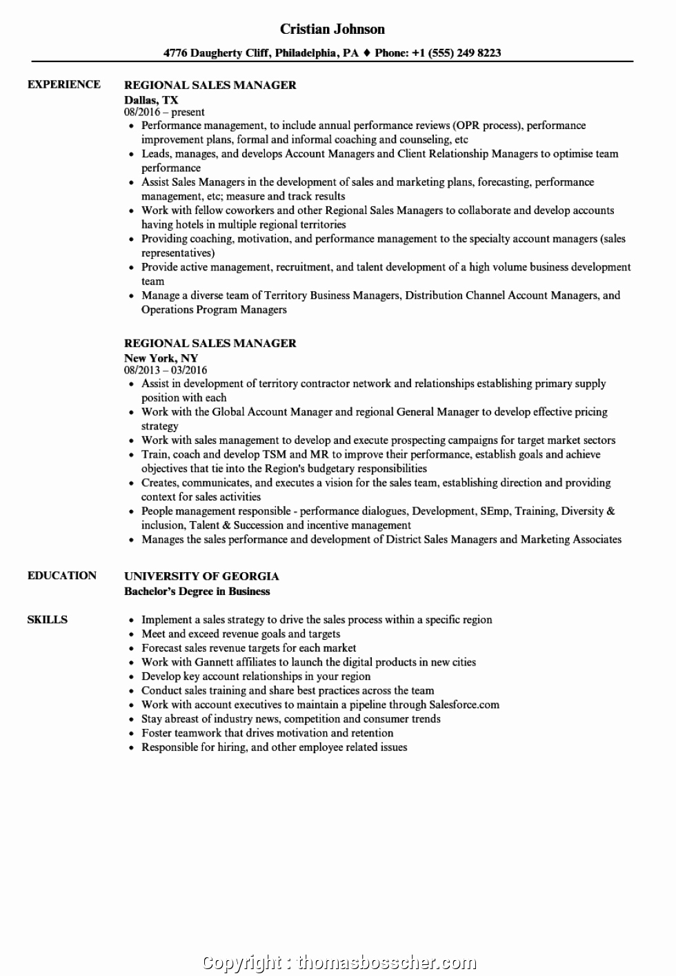 Newest Sample Resume for Sales Manager Position Sample