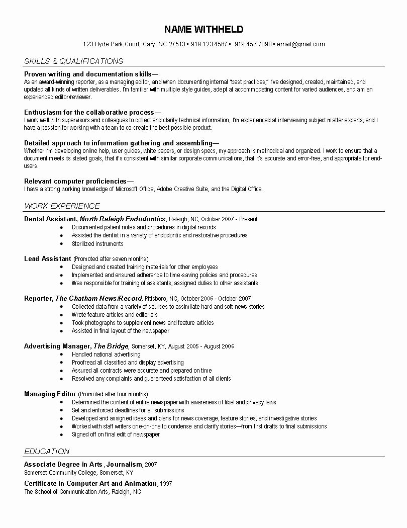 News Reporter Resume Example Journalist Resume formats