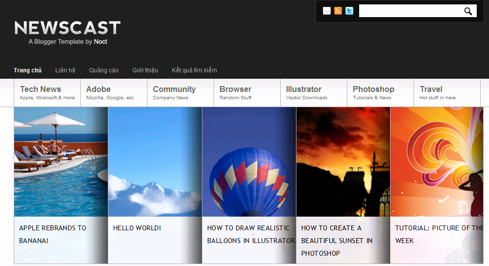 Newscast Best Premium Blogger Template for