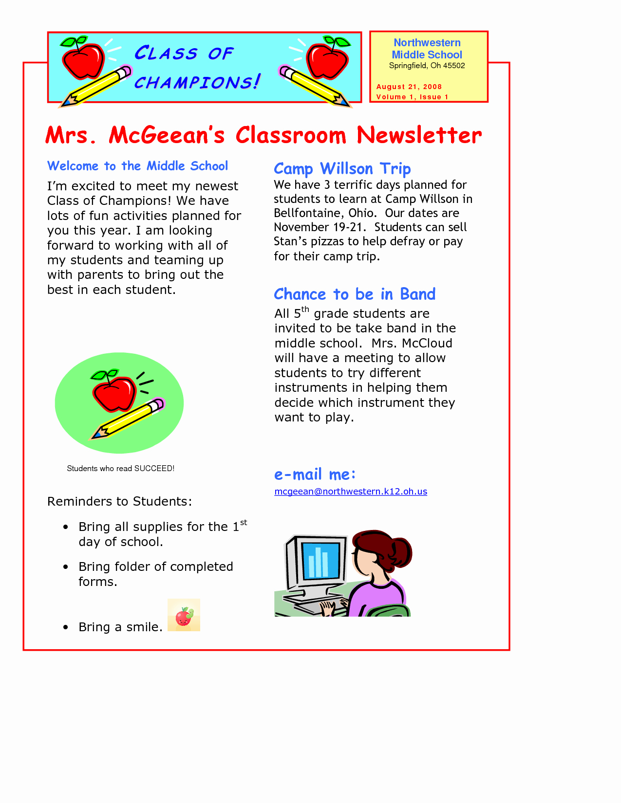 Newsletter Classroom Newsletter Template