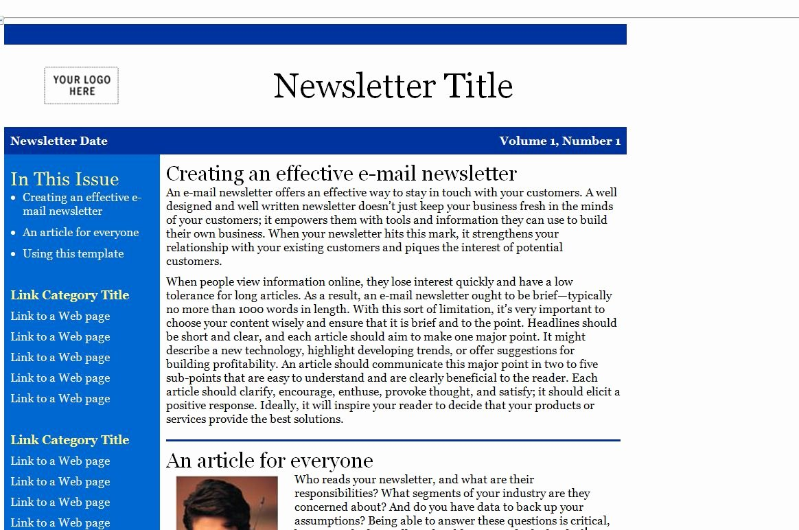 Newsletter Template Microsoft Outlook Freesoftmessenger