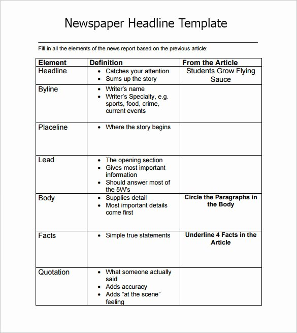 Newspaper Headline Template 7 Download Documents In Pdf