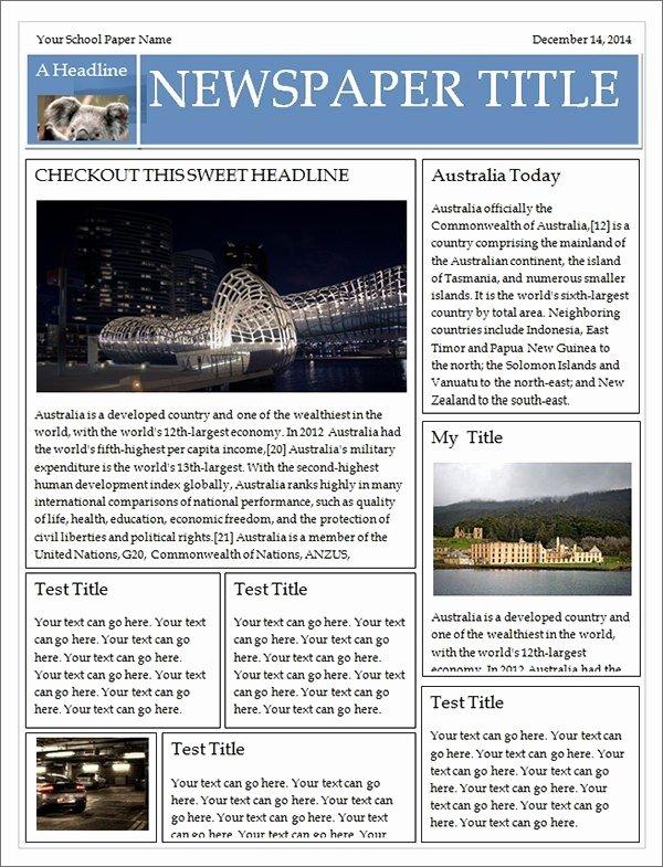 Newspaper Template Microsoft Word Microsoft Publisher