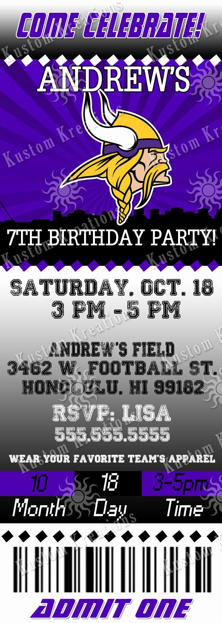 Nfl Minnesota Vikings Birthday Invitation