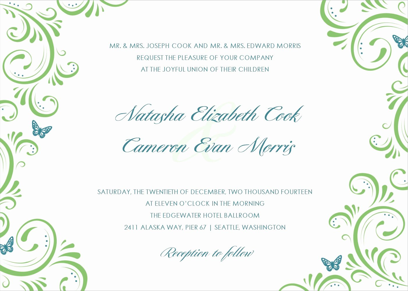 Nice Designing Wedding Invitation Card Template White