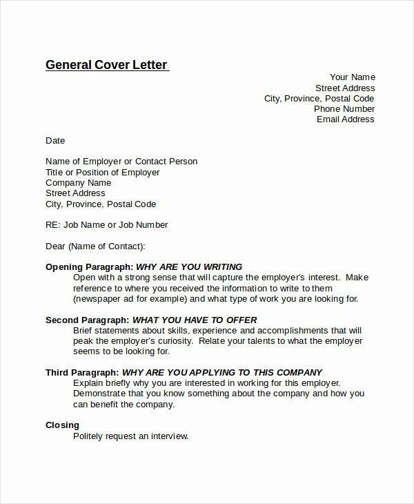 Nice Sample Generic Cover Letter – Letter format Writing