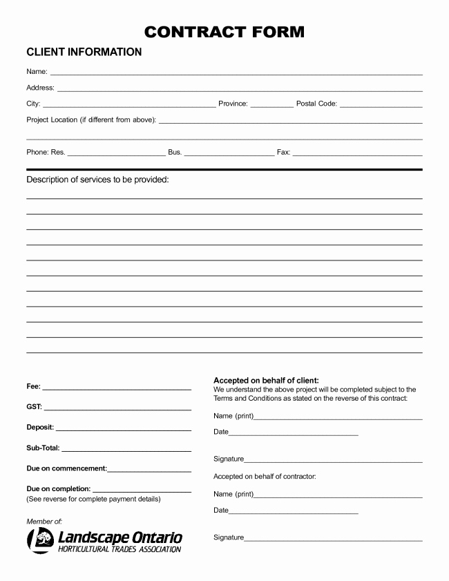 Nice Sample Of Printable Blank Contract Template with
