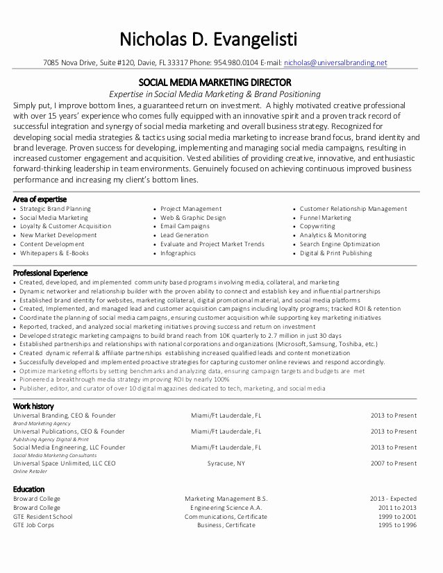 Nicholas Evangelisti social Media Marketing Director Resume