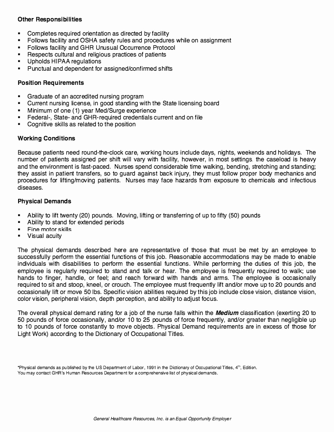 Nicu Nurse Job Description Resume Resumesdesign