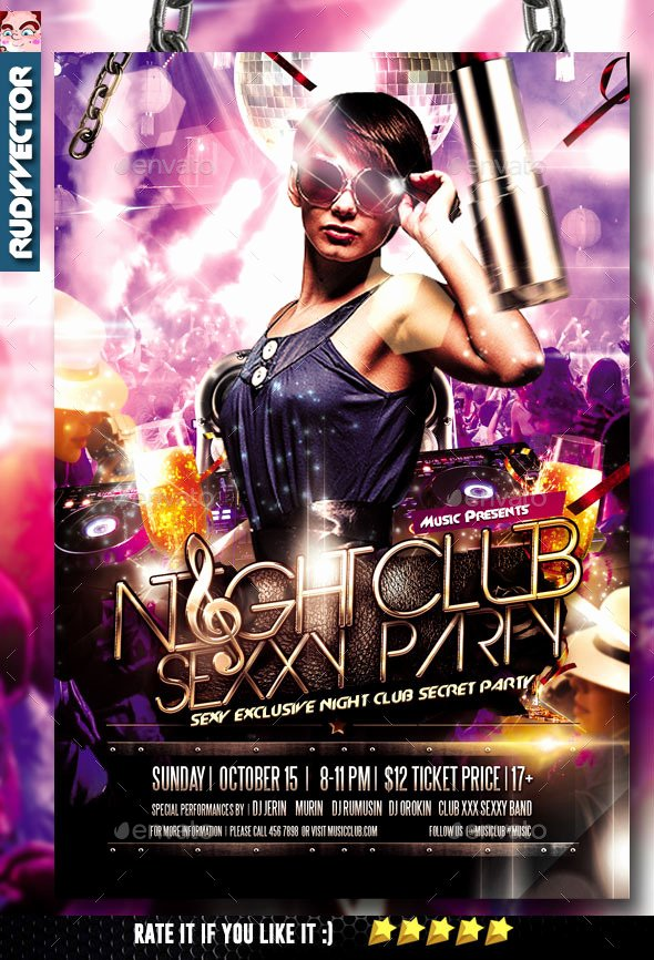 Night Club Party Flyer by Rudyvector