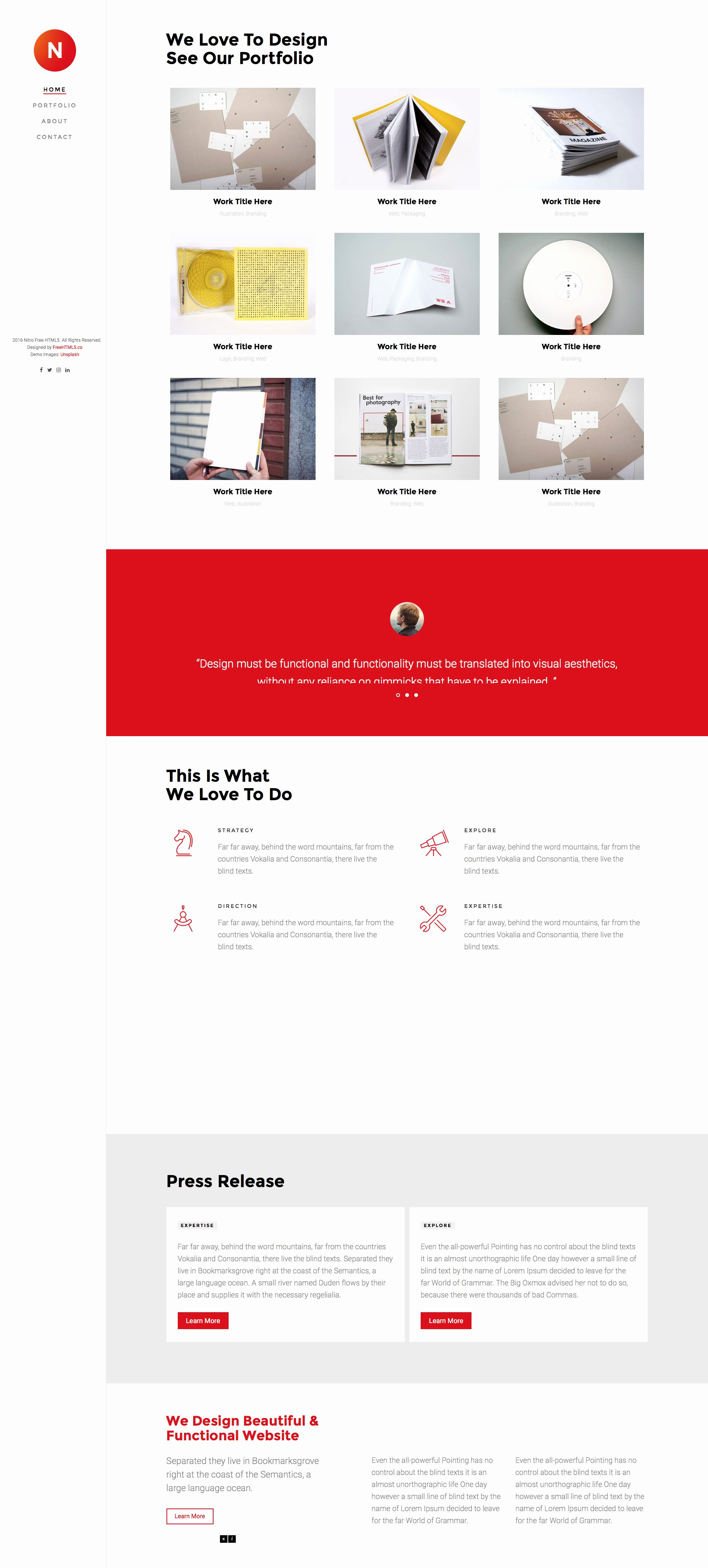 Nitro Free Responsive HTML5 Bootstrap Template