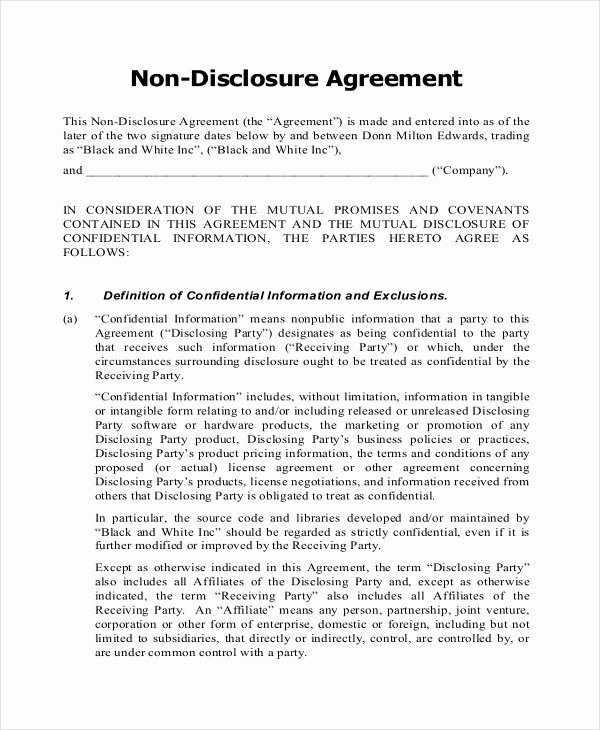 Non Disclosure Agreement form – 9 Free Word Pdf