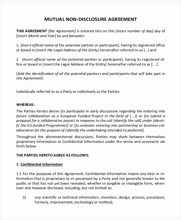 Non Disclosure Agreement Template – 9 Free Word Pdf