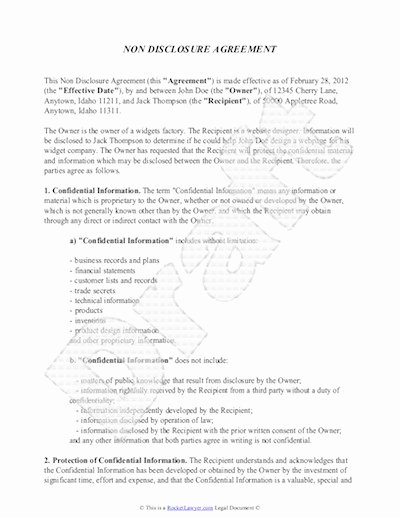 Non Disclosure Agreement Template Free Sample Nda Template