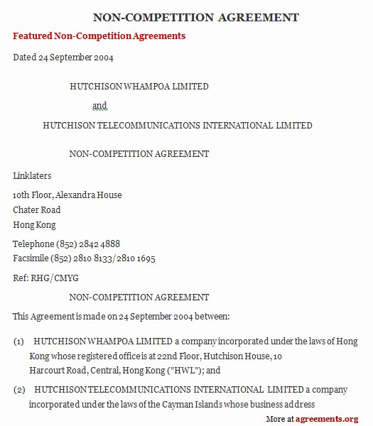 Non Pete Agreement Sample Non Pete Agreement Template