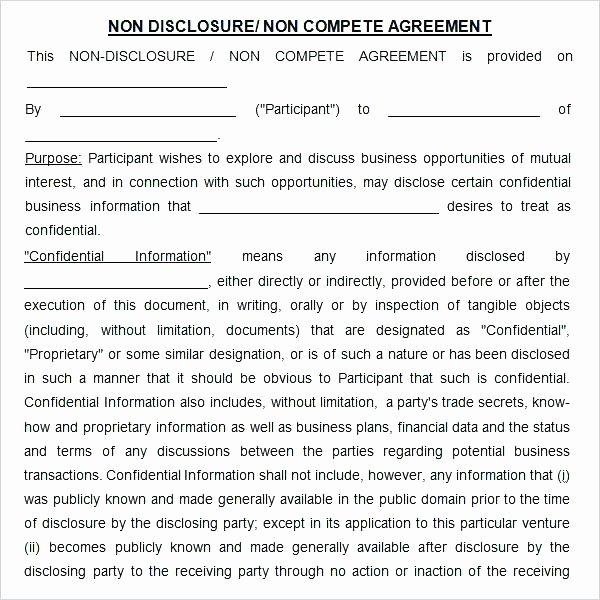 Non Pete Disclosure Agreements Template Consultant Non