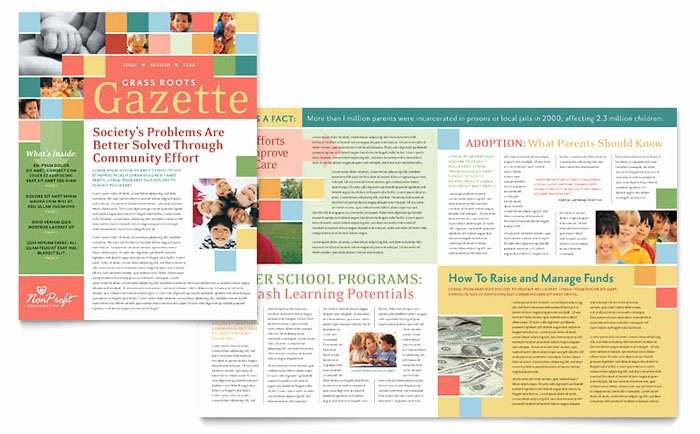 Non Profit association for Children Newsletter Template Design