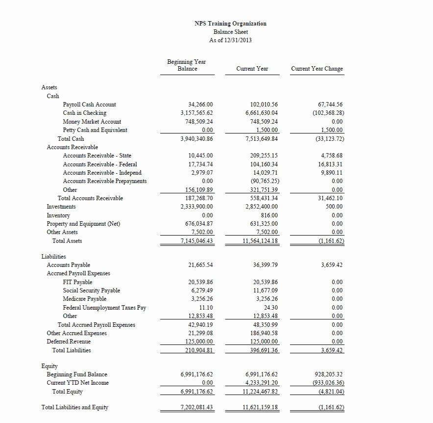 Non Profit Balance Sheet Sample 7 Features Non Profit