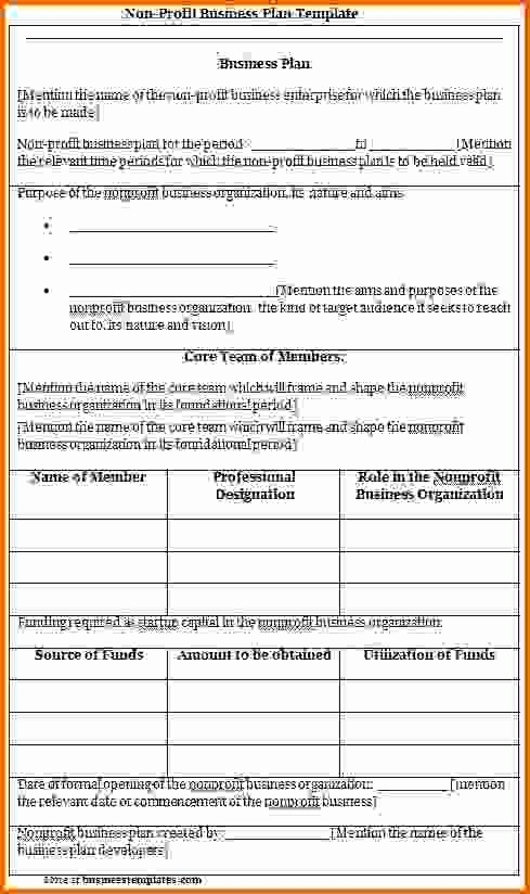Non Profit Business Plan Templatereference Letters Words