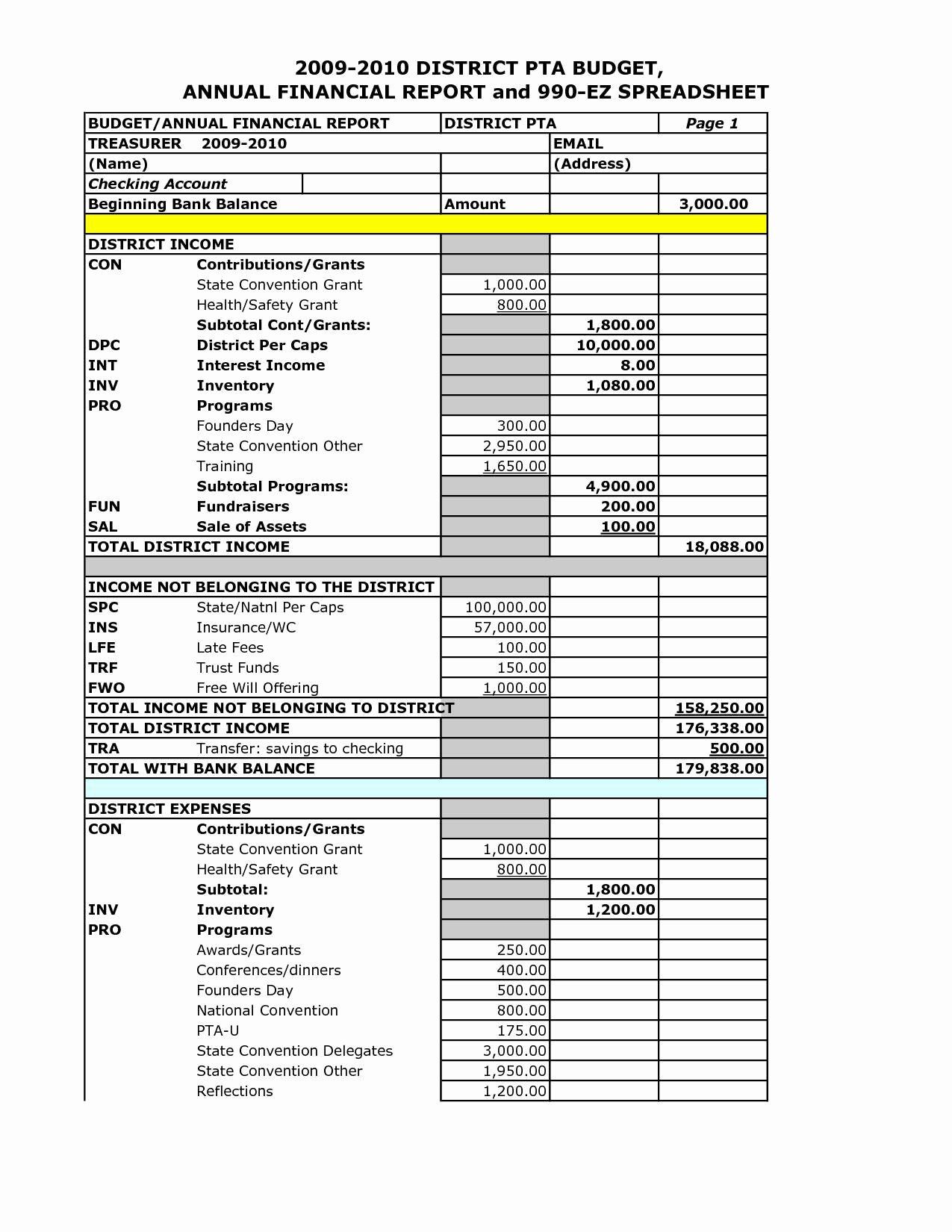 Non Profit Financial Statement Template Free Invoice