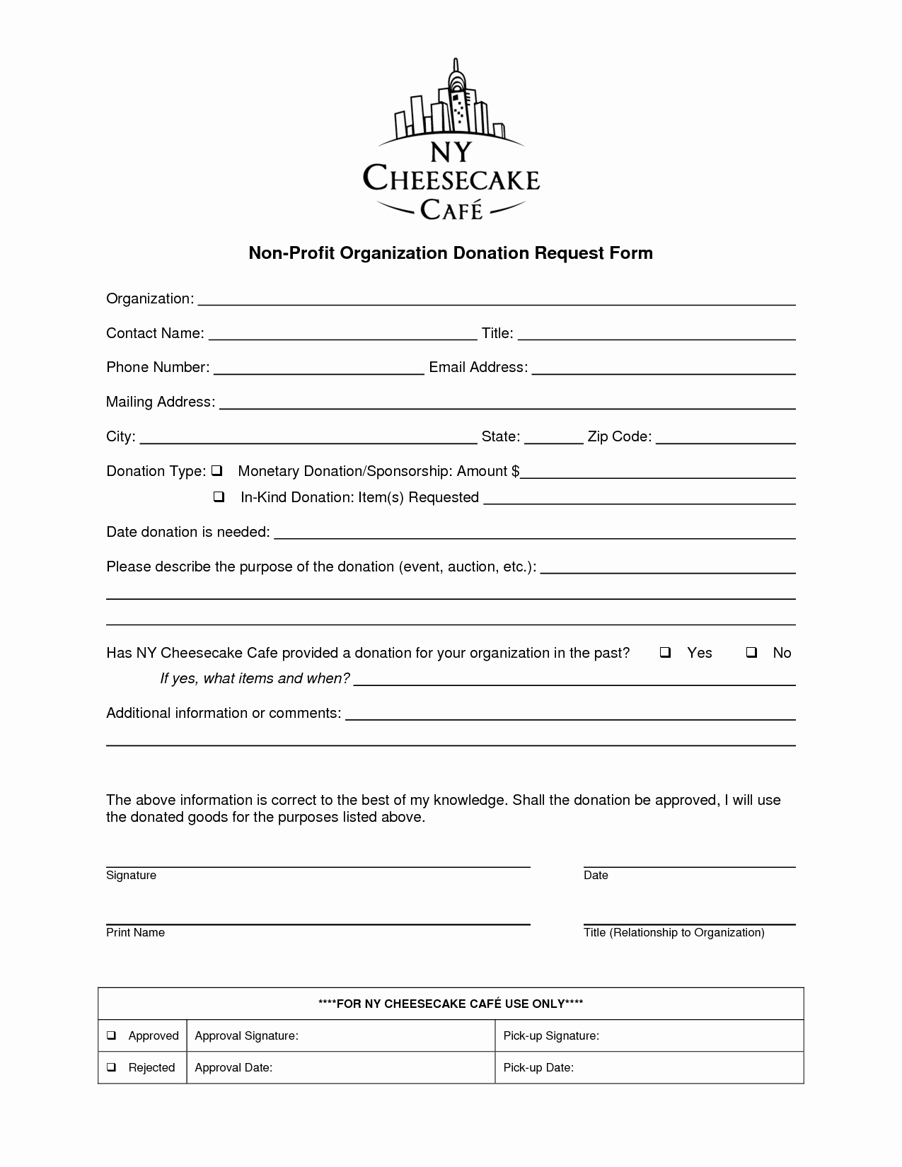 Non Profit organization Donation Request form organization
