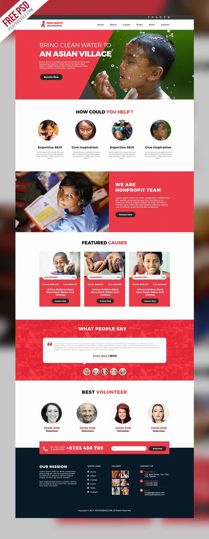 non profit organization website template free psd