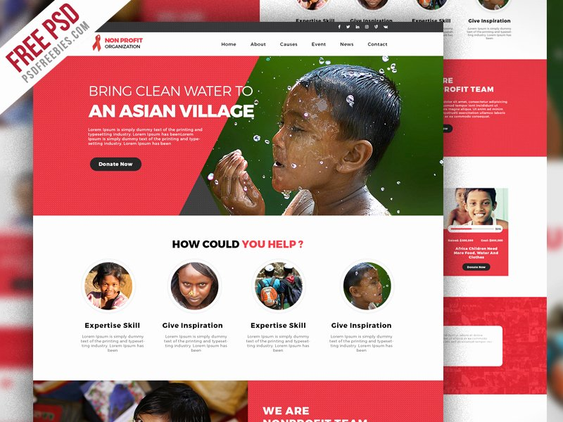 Non Profit organization Website Template Free Psd