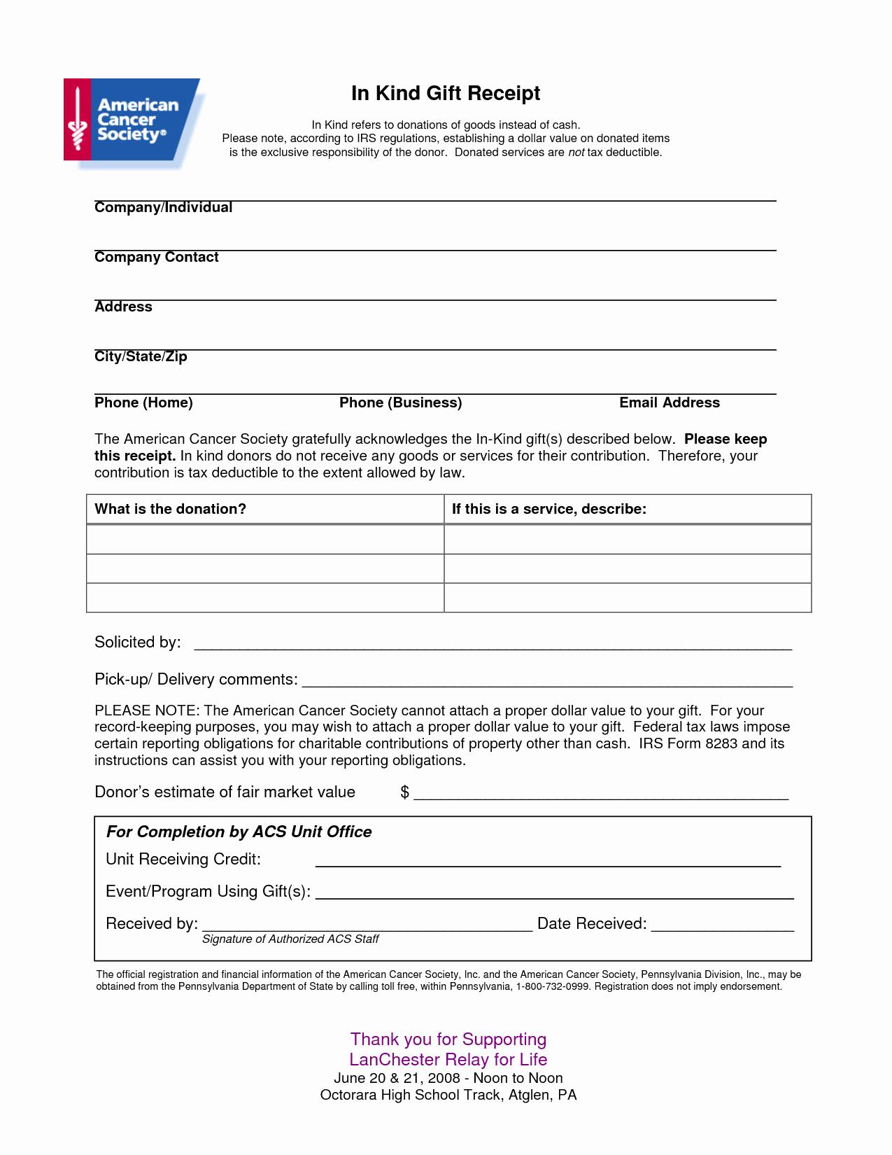 Non Profit Receipt Of Cash Donation Letter Template