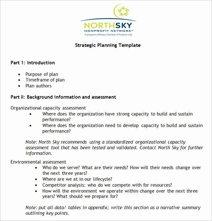 non profit strategic plan template
