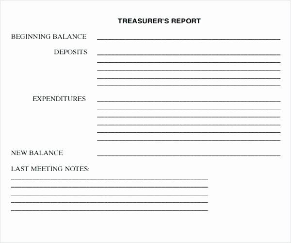 Non Profit Treasurer Report Template Awesome Free
